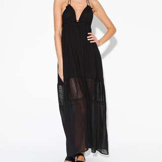 Neon Hart Black Mesh Panel Maxi Dress
