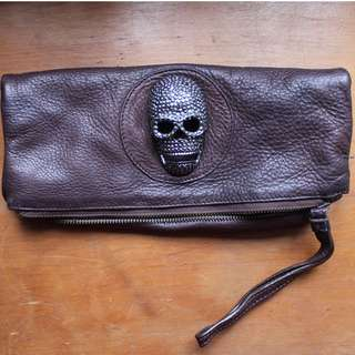 Thomas Wylde brown clutch bag with embellished skull