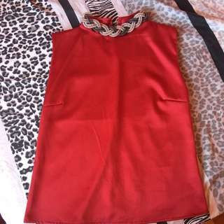 Red Top With Attached Necklace