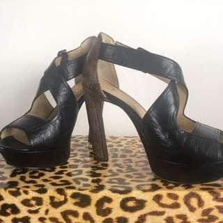 Luxury Rebel 2 Tone Leather Platform Heels Size 36.5