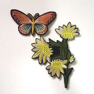 🌻🦋 Butterfly And Yellow Floral Iron On Patches