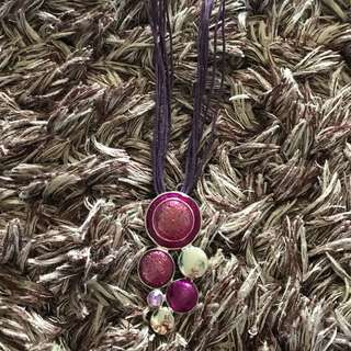 Purple Necklace With Adjustable Strap