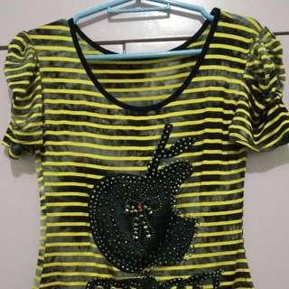 Yellow Black Stripe Blouse
