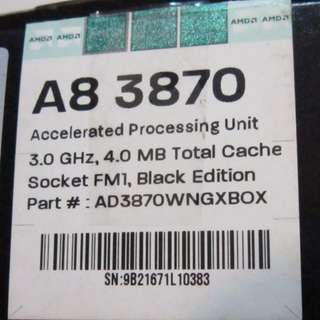 AMD APU A8-3870 3GHz 4M快取 FM1腳位