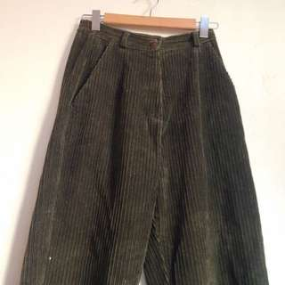 Vintage Khaki Green Cord Pants