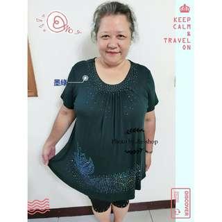 胖媽媽 翩翩起舞修身短袖上衣 超彈力 透氣 大尺碼 媽媽裝 XL~4XL