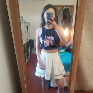 Purple Floral Crop And White Skirt