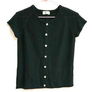 二手特殊設計涼爽黑色針織上衣 (不含運)