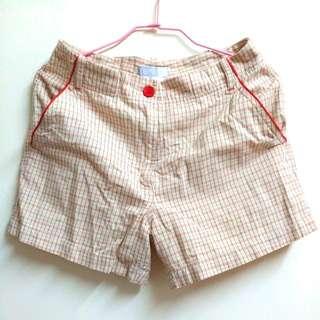 二手ESPRIT橘暖色系格紋短褲 (不含運)