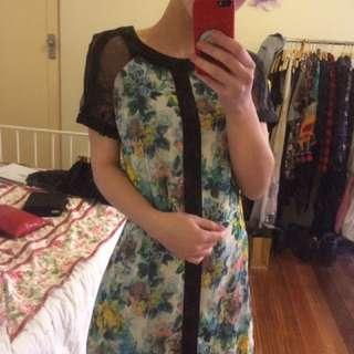 Floral Dress Mesh Shoulders