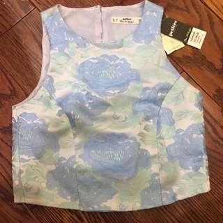 Petite Size Miss Selfridge Blue Floral Top