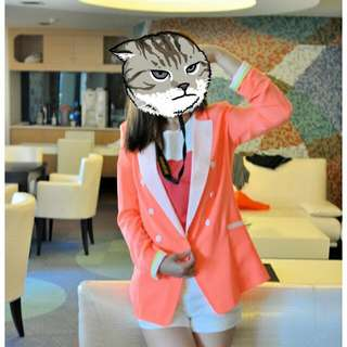 正韓雪紡螢光粉西裝外套(出清)#兩百元雪紡