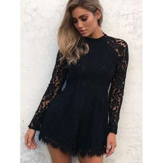 New Black Lace Playsuit
