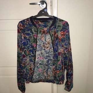 Vintage flower print bomber jacket