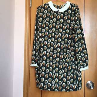 墨綠色貓頭鷹雪紡連身裙