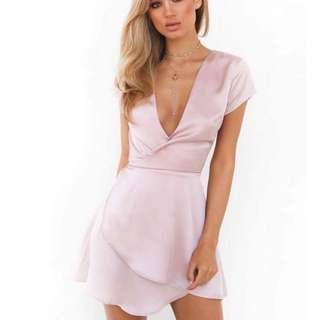 Pink Silk Wrap Dress