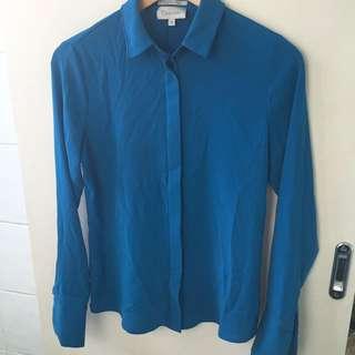 Calvin Klein Blue Silk Button Up Shirt Blouse