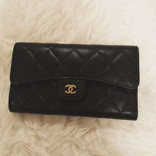 Chanel Flap Wallet Gold In Caviar