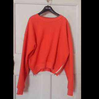 BLANCHE Orange Crop Sweater With Zipper on sides