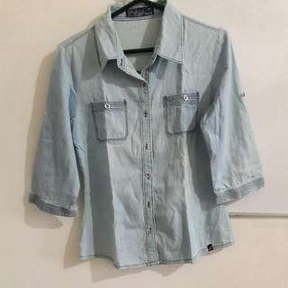 Denim Button Down Long Sleeves Chambray
