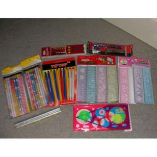 brand new stationary - 30pcs pencils, 10 ball pens, 7 arts rulers, 1 set design ruler, 1 pack 3-in-1 pencil pen set (0.5mm), 1 set of 24 water color pen (used few), 1 set of 12 washable markersnary case , plus a used long statio