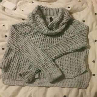 Staple The Label Chunky Knit Roll Neck Cropped Grey Jumper NWOT Size 8-10