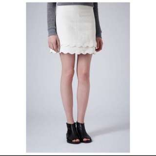 TOPSHOP Double Scallop Skirt (White)