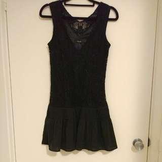 Black Bardot Dress LBD Size 8