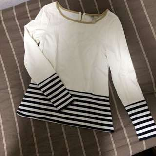 Banana Republic Longsleeves Top - With Gold And Stripe Accent