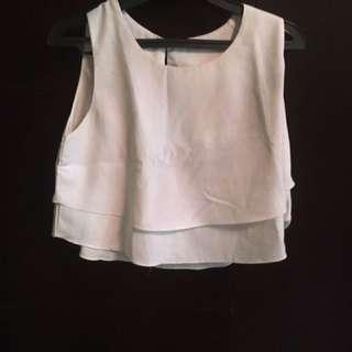 Kaus Tanpa Lengan Putih 2 Layer - 2 Layers Sleeveless White Shirt