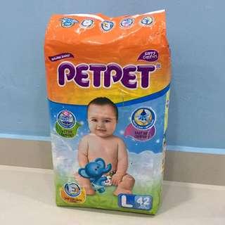 Petpet Tape Diaper Size L 42pcs