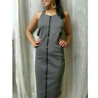 Grey Front Zipper Bodycon Midi Dress