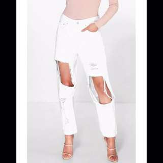 White Ultra Ripped Jeans