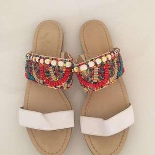 Never Worn Nine West Sandals Beaded 9
