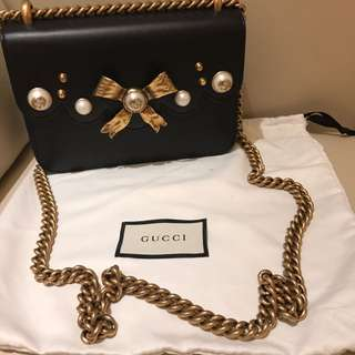 Gucci Leather Chained Shoulder Bag