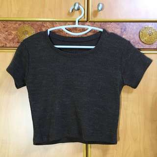 Knitted Brown Crop Top