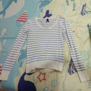 #huat50sale Blue And White Stripes Long Sleeve