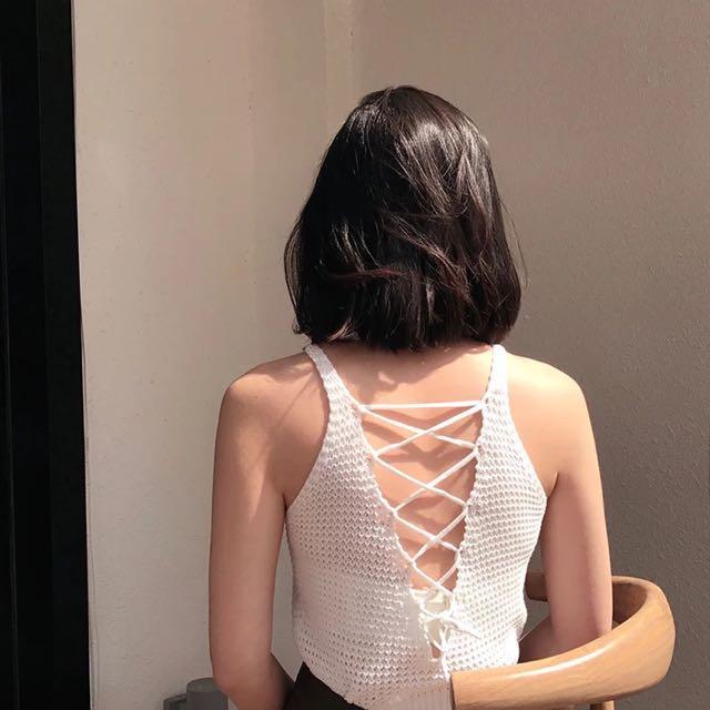 削肩露背針織