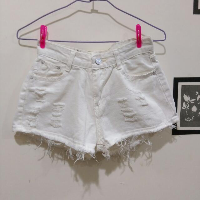 白色短褲  白褲 #三百元牛仔