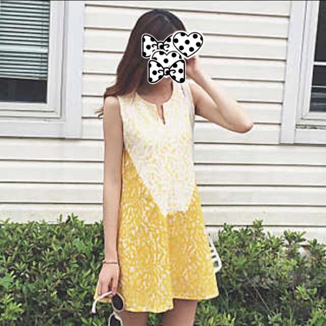 全新韓版黃白拼接A字裙 寬鬆無袖蕾絲連身裙