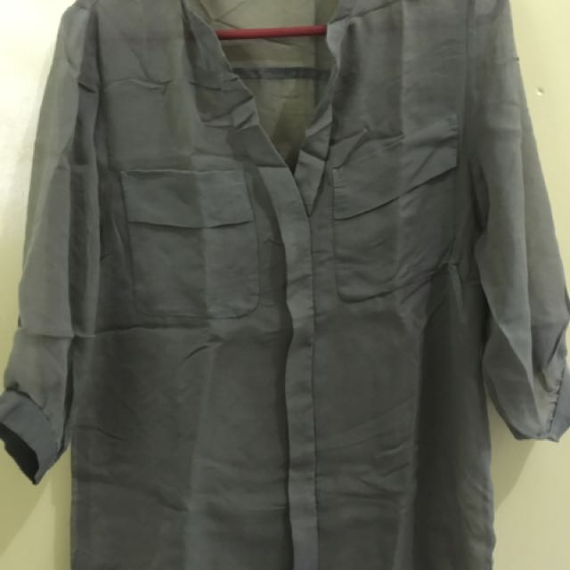Army Green Sheer Blouse