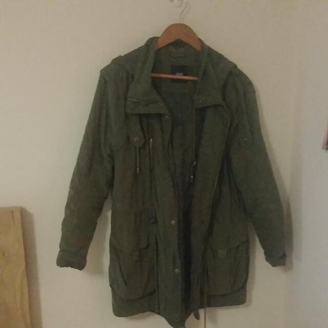 ASOS Quilted Parka Jacket (Khaki)