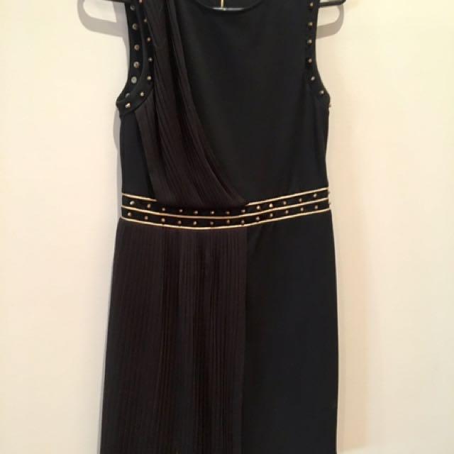 Bardot Black Dress with Gold Detail Sz 10