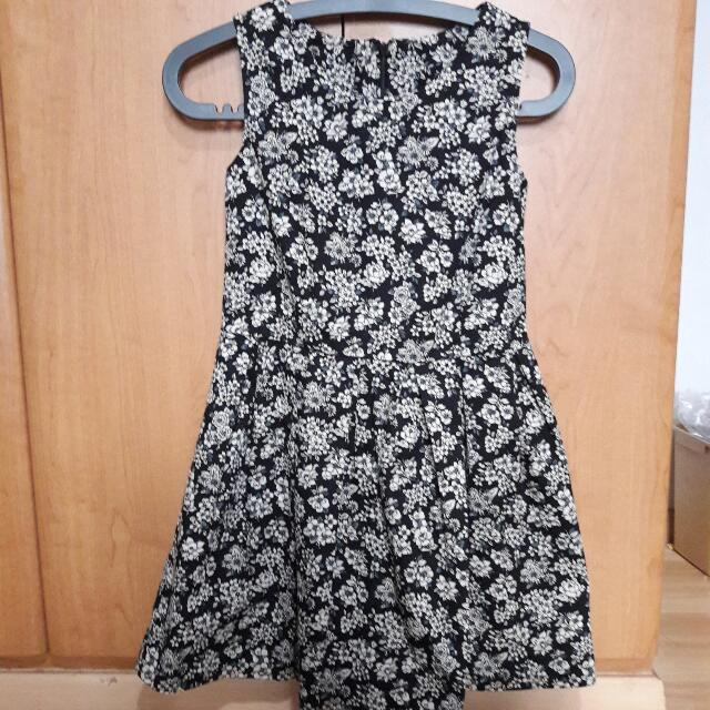 BN Black floral babydoll dress
