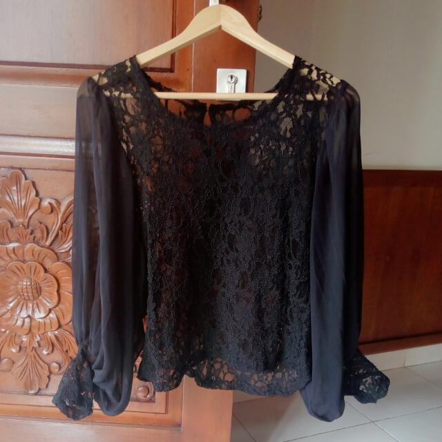 Blouse Black Brukat
