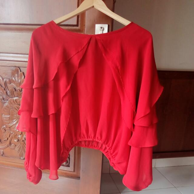 Blouse RED Rumple bahan Sifon