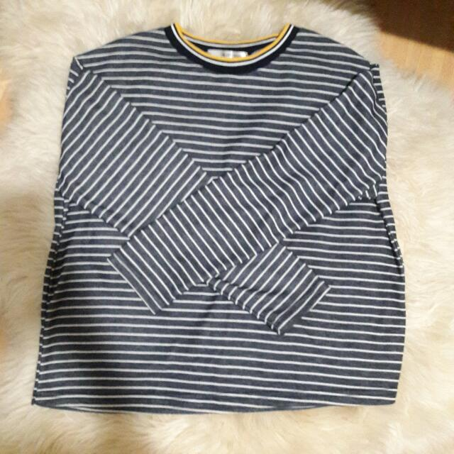 BN Striped yellow collar pullover