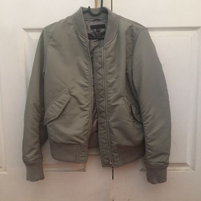 Brand New Grey Uniqlo Bomber Jacket Size M