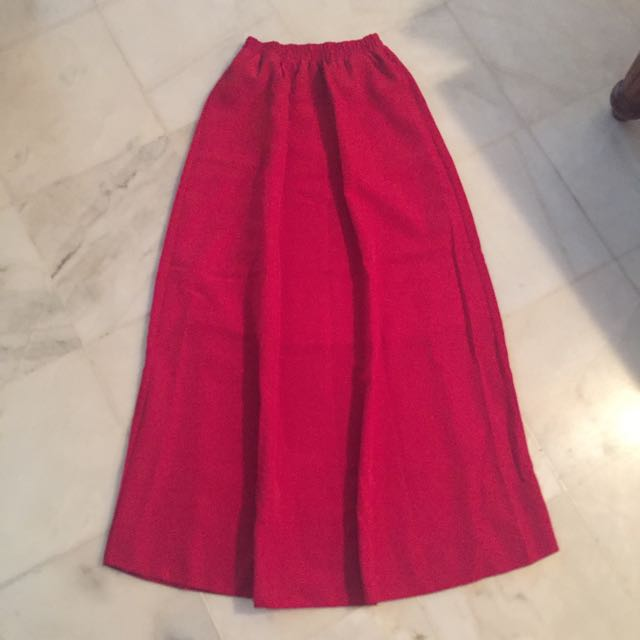 Bright Red Maxi Skirt