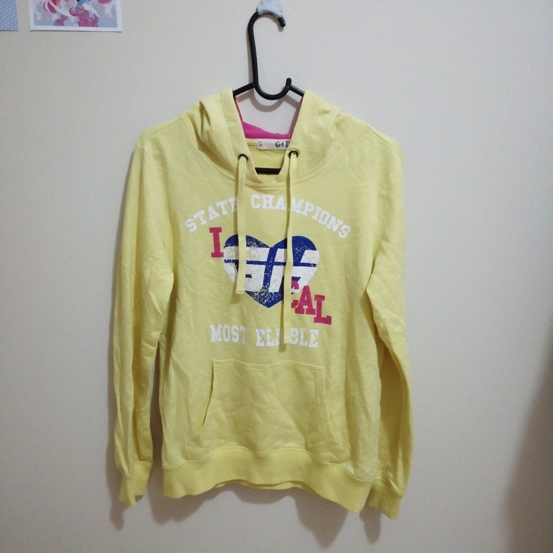 Bright Yellow Jumper Hoodie Jacket Winter Clothing Womens
